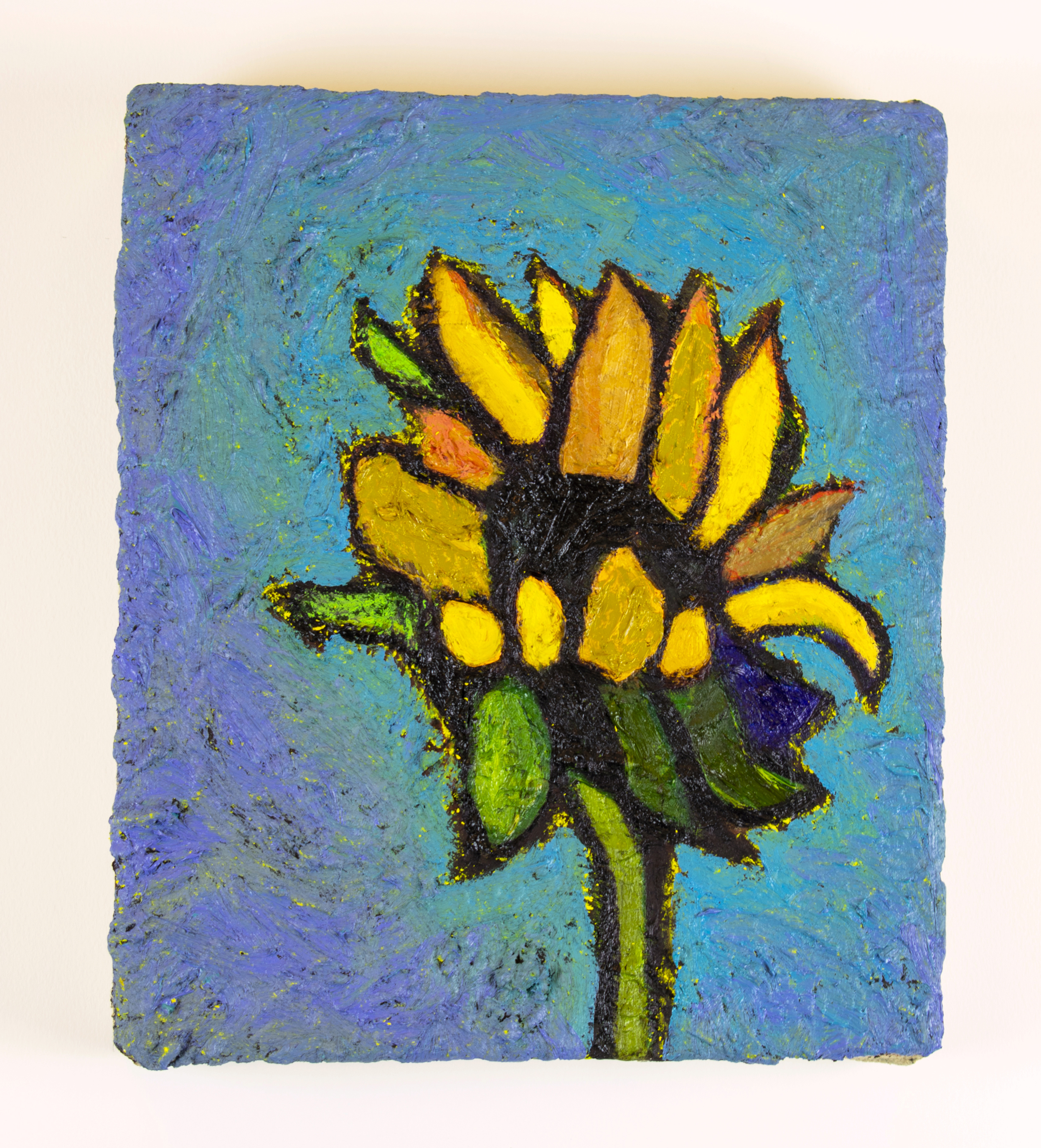 "David Bance, 'Sunflower', oil on hessian, 12"" x 10"", 2018"